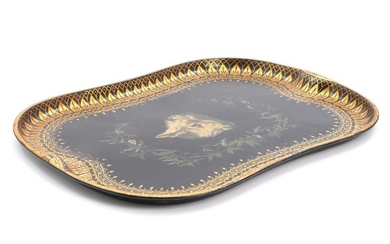 A painted and gilded metal tray, decorated with a rams head, flowers and foliage. Mid 19th century. L. 77. W. 57 cm.