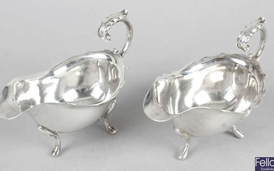 A pair of 1930's silver small sauce boats.