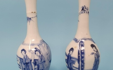 A pair of Chinese blue and white vases, decorated figures, 1...