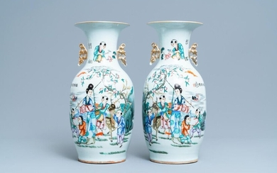 A pair of Chinese famille rose two sided design vases, 19/20th C.