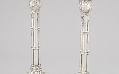 A pair of English 18th century silver candlesticks, marked JB, London 1766.