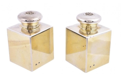A pair of Victorian silver gilt scent bottles by Brownett & Rose