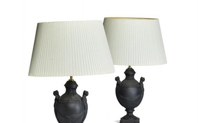 A pair of modern dry-bodied stoneware black basalt table lamps