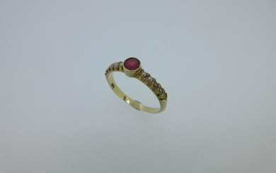 A ruby and seed pearl ring