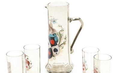 A set of four German smoke coloured drinking glasses and jug. C. 1900. H. 27 and 12.4 cm. (5)