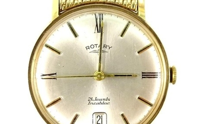 A vintage Rotary gents wristwatch in 9ct case, expanding gol...