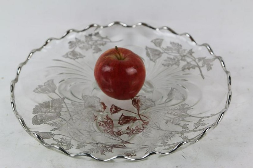 ANTIQUE STERLING SILVER OVERLAY FOOTED CHARGER