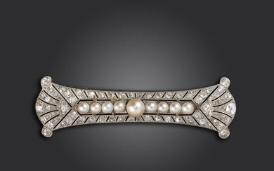 An Edwardian pearl and diamond brooch, set with a centre line of pearls, with circular and rose-cut diamonds millegrain set to the pierced platinum mount, 6.1cm wide