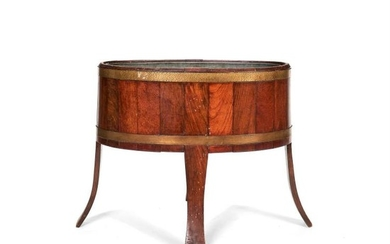 An Edwardian teak and brass-bound jardinière stand, early 20th century
