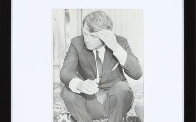 """An original American black-and-white press photograph of Robert """"Bobby"""" Kennedy (1925–1968) during the primary election in Omaha, Nebraska on May 15th 1968."""