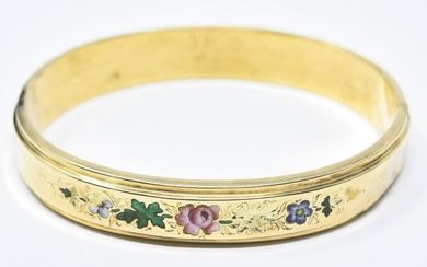 Antique 14kt Yellow Gold & Enamel Floral Bracelet