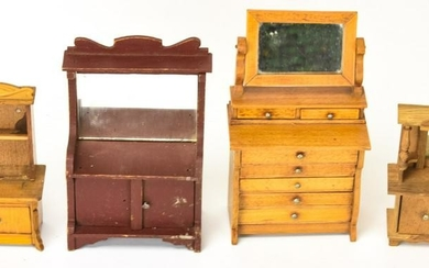 Antique 19th C German Wooden Dollhouse Furniture