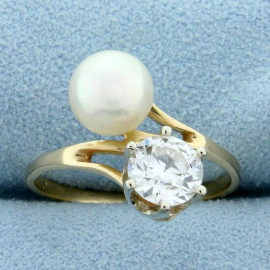 Antique 1ct Old European Cut Diamond and Akoya Pearl