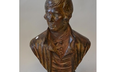 Brown patinated bronze bust of Robbie Burns, signed in the b...
