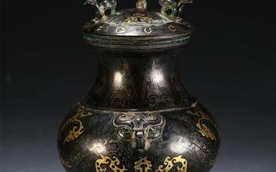 CHINESE ANCIENT BRONZE SILVER VASE