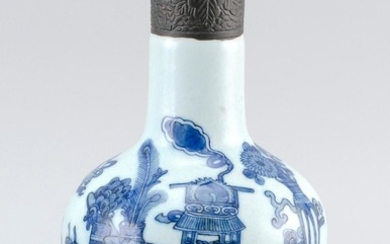 "CHINESE BLUE AND WHITE PORCELAIN BOTTLE VASE In mallet form, with decoration of scholars' objects. Height 10""."