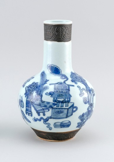 """CHINESE BLUE AND WHITE PORCELAIN BOTTLE VASE In mallet form, with decoration of scholars' objects. Height 10""""."""