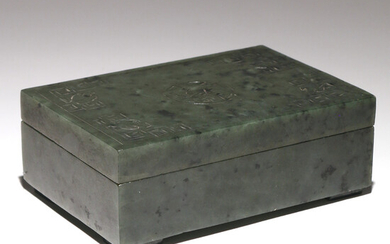 CHINESE SPINACH JADE CARVED BOX