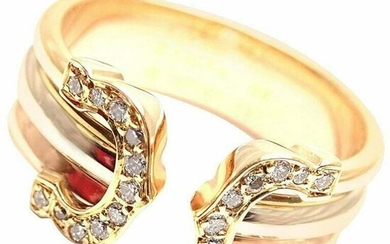 Cartier Diamond Double C 18k Tri-Color Gold Band Ring