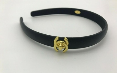 Chanel Black Leather Hair Band