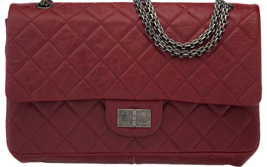 Chanel Red Quilted Distressed Lambskin Leather 2.55 Reissue -...