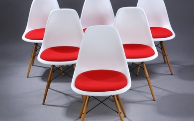 Charles Eames. A set of six shell chairs with red hopsak, model DSW (6)