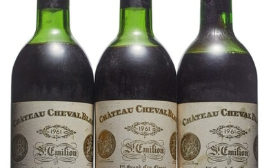 Château Cheval-Blanc 1961, Saint-Emilion, 1er grand cru classé (A) Corroded and slightly damaged capsules, bin-soiled labels Levels one mid-upper, one mid, and one low shoulder