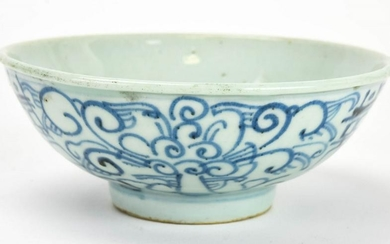 Chinese Blue & White Porcelain Bowl W Wax Seal