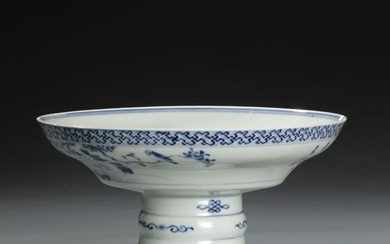 Chinese Blue and White Stem Dish, Chip