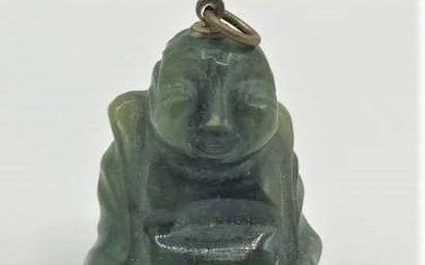Chinese Carved Green Jade Buddha Figure Pendant