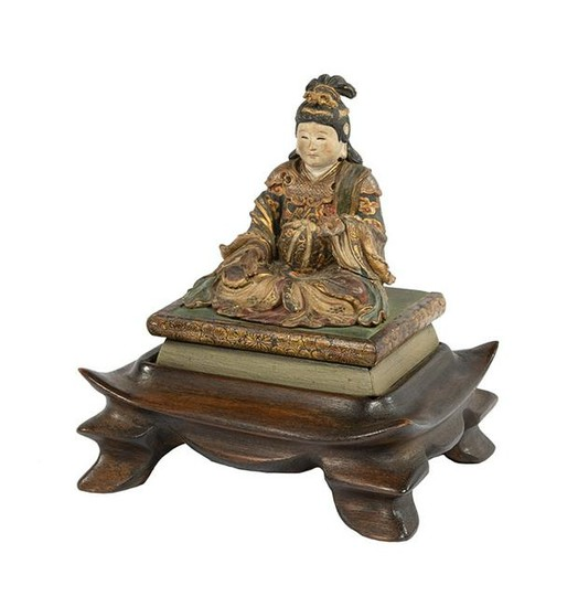 Chinese Carved, Polychromed Wood Buddhist Figure