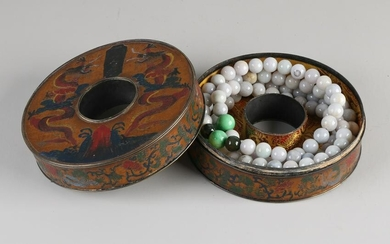 Chinese carved copper box with dragon decoration + jade