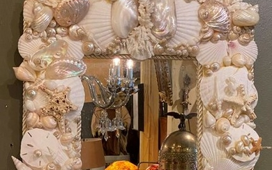 Contemporary Hannging Clustered Ocean Shell Mirror