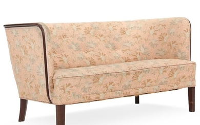 Danish cabinetmaker: Two seater sofa with mahogany frame. Upholstered with rose coloured floral fabric. L. 140 cm.