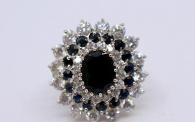 Decorative Sapphire & Diamond Style 9ct Gold Ring