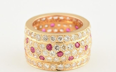 Diamond, Ruby, 18k Yellow Gold Ring.