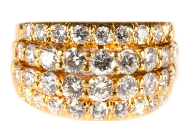 Diamond and 18k gold wide band ring