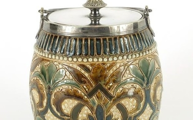 Doulton Lambeth stoneware biscuit barrel with silver