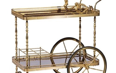 Egyptian Revival Brass and Wood Bar Cart
