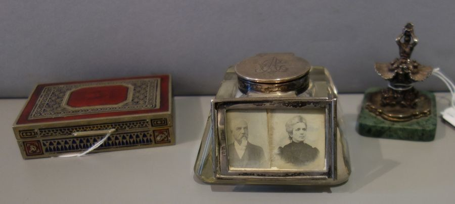 English inkwell in silver and crystal, silver and...