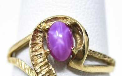 Estate 10kt Yellow Gold & Cabochon Star Ruby Ring