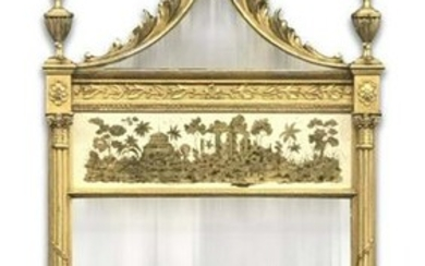 FEDERAL STYLE EAGLE CRESTED GILTWOOD MIRROR W/ EGLOMISE