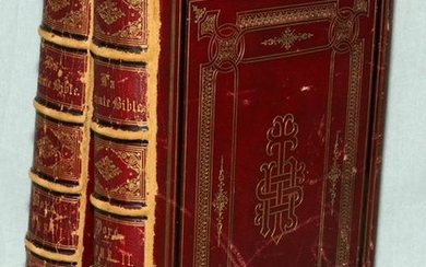 "FRENCH, LEATHER, ""LA SAINTE BIBLE"" 1866, 2 VOLUMES"