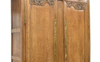 FRENCH LOUIS XV STYLE CARVED OAK WEDDING ARMOIRE