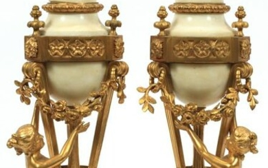 FRENCH MARBLE & BRONZE COVERED URNS, 19TH C, PAIR