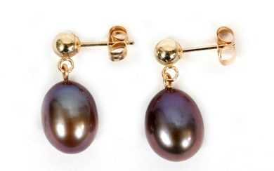 FRESHWATER PEARL, YELLOW GOLD, EARRINGS