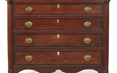 Federal inlaid cherrywood and bird's eye maple chest of...