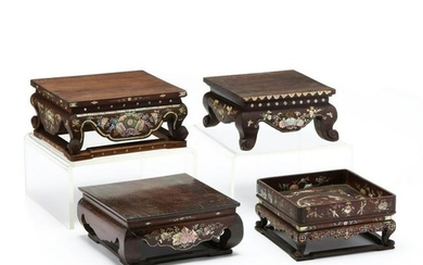 Four Chinese Carved Wooden Stands with Mother-of-Pearl