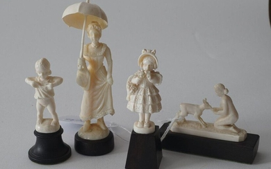 Four European ivory sculptures on wooden base, some appr. 1900 and 1 x art deco period, h. 5-10,5 cm (4x)
