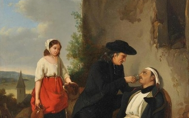 French School (19th century), The wounded soldier